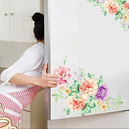 peel wall stickers Australia - Home Colorful Flowers 3D Wall Stickers Beautiful Peony Fridge Stickers Wardrobe Toilet Bathroom Decoration PVC Wall Decals with Adhesive