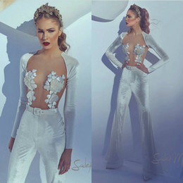 Long Sleeve Velvet Jumpsuit Australia - 2019 Fashion Illusion Jumpsuits Prom Dresses Sheer Jewel Neck Velvet Long Sleeves Pant Suits Party Wear Gorgeous Evening Gowns