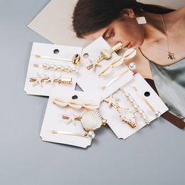 $enCountryForm.capitalKeyWord NZ - Hot Fashion Jewelry Women's Ocean Wind Hairpin Hair Clip Bobby Pin Pearls Shell Beads Pearl Barrette Hair Accessories 3pcs set S496