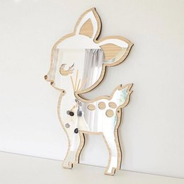 diy home decor accessories UK - Ins Nordic Wooden Cartoon Animal 3D Wall Mirror DIY Acrylic Decor Mirror Murals for Baby Kids Room home decoration accessories