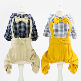 $enCountryForm.capitalKeyWord Australia - Pet Clothing Clothes Dog Cat Spring Autumn Four Leg Jumpsuit Gentleman Suit Plaid Shirt Bib Pants Apparel Fashion Costume Supplies 6.5