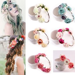 Girl's Accessories Apparel Accessories 1 Pc Bohemian Rose Flowers Shinny Hair Band Floral Garland Summer Party Flower Headband Crown Wreath Tiara Hair With Leds