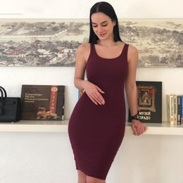 basic solid dresses NZ - Basic Vest Dress Women High Stretch Ribbed Knit Dress Summer Solid Brief Casual Dress Bodycon Pencil Midi Day Dresses