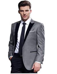 Bussiness Suits Australia - Men's 2 Piece Grey Suit Jacket Waistcoat Trouser Tailored Sold Tuxedo Suit for Wedding Bussiness Formal Casual Ocassion