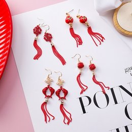 mexican lanterns UK - Popular Traditional Holiday Red Lantern Chinese knot Carp Fish Long Tassel Dangle Earrings For Women Jewelry Pendientes XE1333