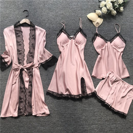 Discount womens sexy night shirts 4Pcs Lot Sexy Women's Robe & Gown Sets Lace Bathrobe + Night Dress Sleepwear Womens Sleep Set Faux Silk Robe Pajama