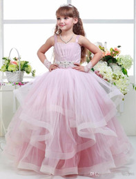 Discount black white kids clothes Formal Floor Length Flower Girl Dress Girl Clothing Princess Brithday Long Sleeve Lolita Ball Gown Kids Dresses