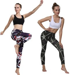 high waist printed yoga pants NZ - Women's Fitness Yoga Pants Slim High Waist Sports Leggings Gym Elastic Digital Print Trousers Running Belly Control