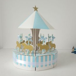 BaBy Blue wedding cakes online shopping - 1 set Carousel Beautiful Carton Gift Cake Box Pink Blue Creative Fairy Candy Box Wedding Anniversary Baby Shower Party supplies