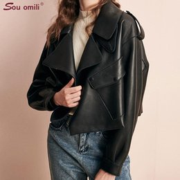 Short Oversized Leather Jacket Women Big Pocket Faux Leather Coats chaqueta Blazer Jack blouson veste femme chamarras de mujer