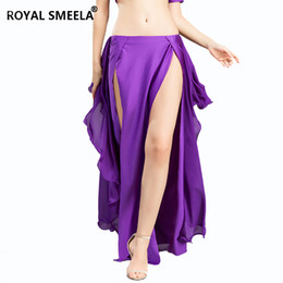belly dresses Canada - Hot Sale Free Shipping New belly dancing skirts sexy swing Belly dance performance dress double slit spandex skirt-6810