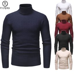 sweater casual slim fit mens 2020 - Winter Warm Men Turtleneck Sweater Fashion Solid Knitted Slim Fit Pullovers Male Casual Double Collar Sweaters Mens Pull