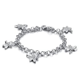 sterling silver dragonfly bracelet NZ - High quality 925 silver Boho Bangle lovely dragonfly Bracelet Women Charm Party Wedding Jewelry Accessories silver jewelry