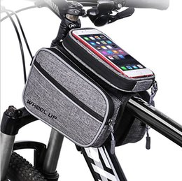 Wholesale Touch Screen Bicycle Bags Cycling MTB Mountain Bike Frame Front Tube Storage Bag for inch Mobile Phone Waterproof