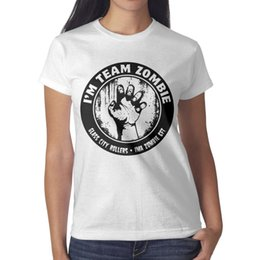 $enCountryForm.capitalKeyWord Australia - Womens design printing I'm team Zombies hand white t shirt design personalised vintage crazy friends shirts retro t shirt fashion novelty