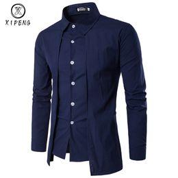 $enCountryForm.capitalKeyWord Australia - New Arrival Autumn Men Shirt 2019 Unique Design Fake Two Pieces Stylish Mens Dress Shirt Long Sleeve Casual Slim Fit Male Shirts T2190608