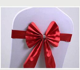 stretch sashes wholesale NZ - Wholesale 100pcs Chair Cover Decor Wedding Party Bow Buckle Band Wedding Stretch Sashes Banquet Free Shipping