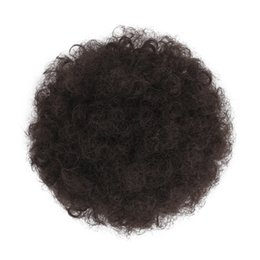 clipped hair Australia - #4 Synthetic Afro Puff Hair Ponytail Hairpieces for Updos African American Short Kinky Curly Wrap Bun Drawstring for Women with 2 Clips