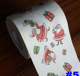 Paper Table Roll Australia - Christmas Pattern Toilet Paper Printing Roll Napkins Paper Fashion Funny Humour Gag Xmas Table Decoration Gifts 5 style