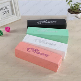 macaron boxes NZ - 4 Color Macaron Box Cake Box Biscuit Muffin Box 20.3*5.3*5.3cm Black Blue Green White Free shipping