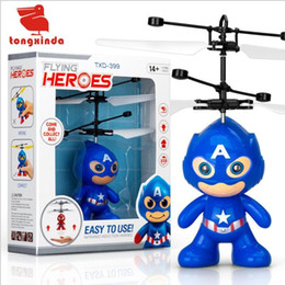 wholesale toys helicopter NZ - Happy Wholesale drone rc helicopters christmas kids toys with spiderman superman batman minions sytle flying LED toy for Children