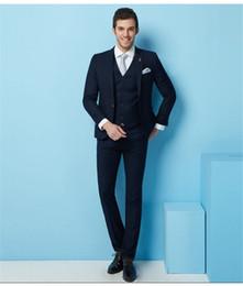 $enCountryForm.capitalKeyWord Australia - 2018 (Jacket+Pants+Vest) Classic Men Suit Slim Fit Navy Blue Wedding Groom Wear Men Suit Gentlemen Costume Marriage Tuxedo