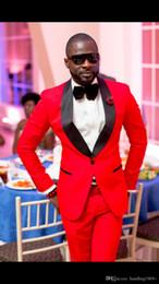 Wholesale handsome men dress pants resale online - Handsome Red Groom Tuxedos Shawl Lapel Man Prom Party Dress Formal Suits Customize Jacket Pants Tie H