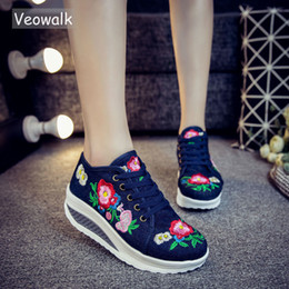 $enCountryForm.capitalKeyWord Australia - Veowalk Floral Embroidery Women's Fashion Canvas Flat Platforms Lace Up Ladies Casual Comfort Sneakers Shoes Woman Creepers Y190704