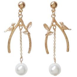 Chinese  Japanese Vintage Soft Girl Lovely Branch Bird Pearl Long Pendant Korean Temperament Baitao Small Fresh Female Earrings Pearl Earrings manufacturers