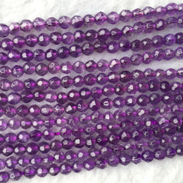 Purple Amethyst Beads Australia - High Quality Natural Genuine Clear Purple Quartz Amethyst Crystal Faceted Round Loose Jewelry Necklaces Bracelets Gemstone Beads 06033