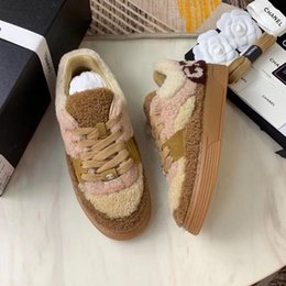 Lazy Low shoes online shopping - Women s classic shoes Winter woolen shoes Low help Keep warm lazy shoes flat bottom casual letter lambswool womens sneakers high qualit