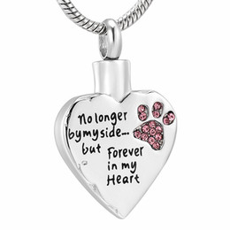"$enCountryForm.capitalKeyWord Australia - IJD9981 Dog Cat Paw ""Always in My Heart"" Cremation Jewelry Ashes Keepsake Pendant,Pet Memorial Urn Necklace With Filling Kits"