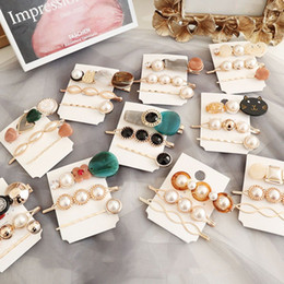 Comb Clips metal online shopping - Drop shipping set Korea Vintage Acrylic Resin Beads Hairpins Imitiation Pearl Metal Gold Color Hair Clips Hair Accessories for Women