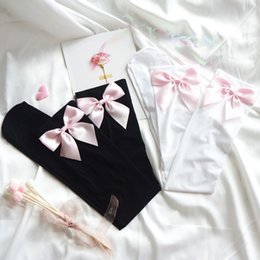 Full latex costumes online shopping - Lolita Pink Bow handmade Stockings Women Sexy Stockings Velvet Thigh High Sheer Bow Stockings Sexy Over The Knee