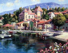mediterranean canvas art NZ - SUNG SAM PARK Landscape Mediterranean Oil Painting Reproduction Printed On Canvas Living Room Bedroom Wall Picture Art Home Decor Spk020