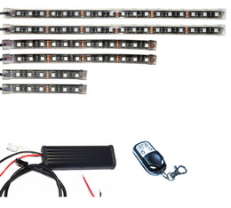 6pcs 15 Color 5050 SMD RGB LED Flexible Strip Wireless Remote Control Motorcycle ATV Light Kits on Sale
