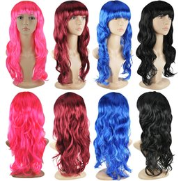 Blue hair long anime online shopping - 50cm Long Curly Fashion Anime Wig Full Hair Wavy Wig Cosplay Costume Party Hair