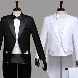Wholesale tuxedo dancing costume for sale - Group buy Black White Adult Men S Tuxedo Groomsmen Male Host Costumes Magician Stage Performance Show Jazz Dance Costume DWY1
