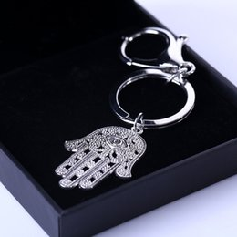 Evil Eye Car Pendant Australia - Fashion Creative Gift Key Pendant Tour Gift Keychain Hamasa Hand and Evil Eye Lucky Keyfob Car Bag Keydrop Two design for choose HYS10