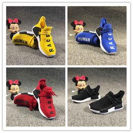 Shoe Samples Australia - box 2019 NMD Human Race kids Running Shoes With Box Pharrell Williams Sample Yellow Core Black Sport Designer Shoes kids Sneakers