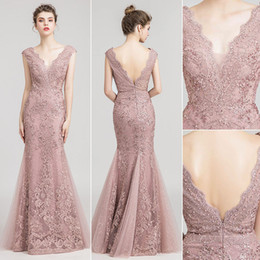 4e7a4396b1 Gorgeous Dusty pink lace Mermaid Evening Dresses Wear yousef aljasmi  Fashion V Neck Heavy crystals beading lace arabic Prom Formal Gowns