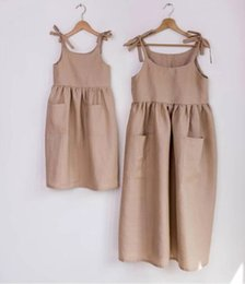 organic girls dresses Australia - 3 Colors Summer Autumn Newest INS Little Girls Organic Linen Cotton Dresses Sleeveless Square Collar Blank Big Pockets Children Girls Dress