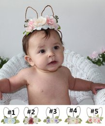 Bébé Bandeau Lapin Fleur Couronne Cheveux Bande Filles De Pâques 3D Rose Fleur Chapeaux Licorne Parti Bébé Cheveux Accessoires WXA010
