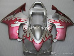 F4i Silver Red Australia - New hot Injection molded fairing kit for Honda CBR600 F4i 01 02 03 red flames silver fairings CBR600F4i 2001 2002 2003 HW30