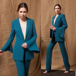 Blue Plus Size Jumpsuit Australia - 2019 Hunter Blue Prom Dresses Pants Suits Satin Trumpet Long Sleeve Evening Gowns Plus Size Abendkleider Jumpsuits robes de soirée