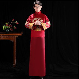 chinese clothes cheongsam Australia - Male cheongsam Chinese ethnic clothing the groom dress jacket long gown traditional wedding costume men TV Film play stage wear