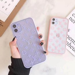 Wholesale Latest Pink purple Transparent Letter Phone Cover for iPhone 11 11pro 11promax 8P X xs xR xsmax Brand Phone Covers