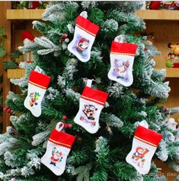 Best Gift For Xmas Australia - Christmas Stockings Decorations Santa Snowman Stocking Xmas Home Decorations 15pcs lot 13cm Hight Best Gifts for Christmas