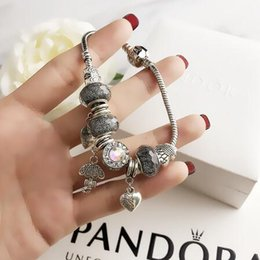 Pandora rhinestone silver charms online shopping - AAA68 Charm Bracelets Silver Pandora Bracelets come pouch