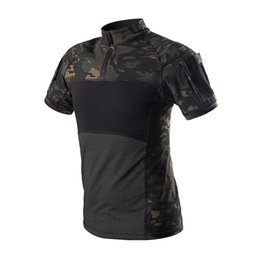 Discount tactical t shirts - Army Tactical Shirt Short Sleeve Camouflage T Shirt Outdoor Quick Dry Camo Multicam Black Men Hunting Hiking Shirts